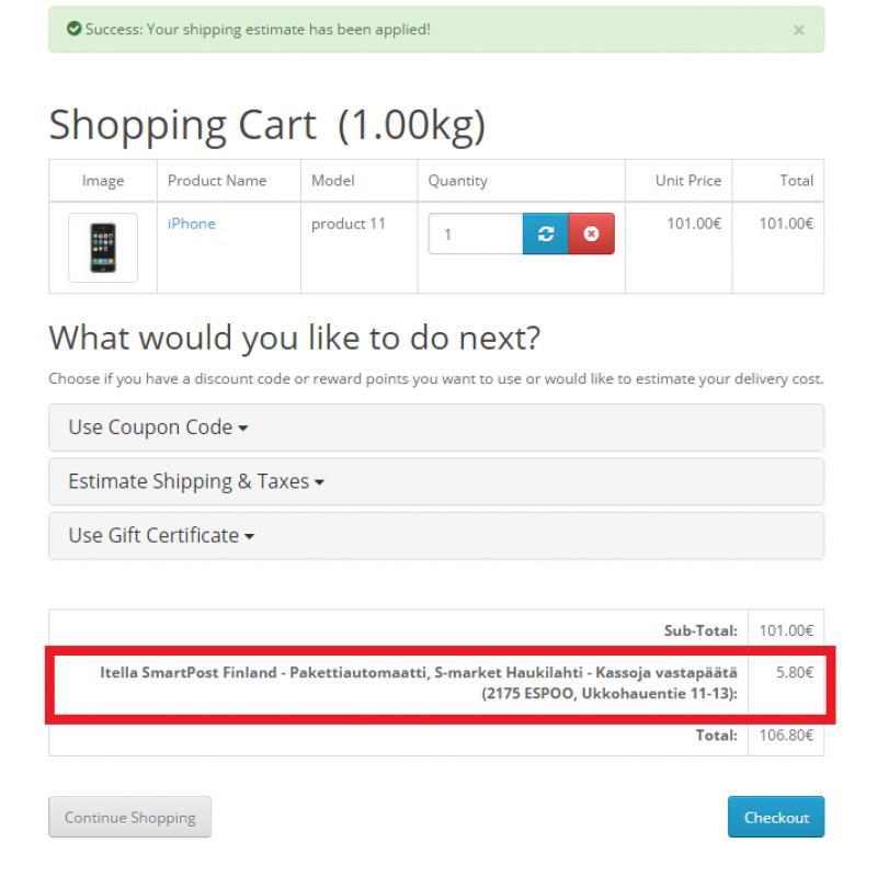 Opencart - Itella SmartPost Finland on Google Map Shipping Method OC2.3 & OC3.0