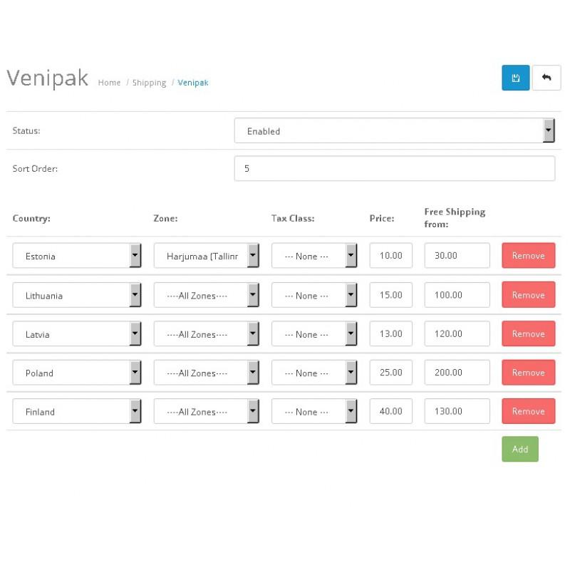 Opencart - Venipak Shipping Method
